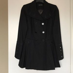 Calvin Klein Double Breasted, Pleated Wool Coat